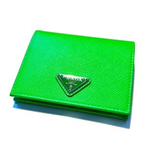 PRADA Green Small Saffiano Leather Wallet - NWT